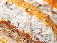 Рецепта Бананов кейк / кекс / сладкиш с извара и глазура за десерт